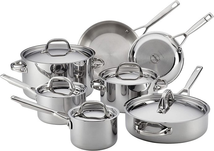Anolon 30822 Triply Clad Stainless Steel Cookware Set