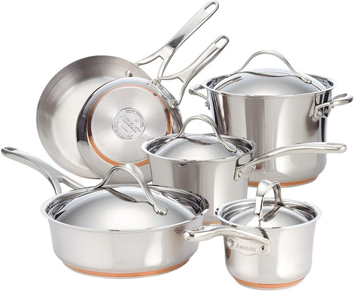 Anolon Nouvelle Stainless Steel Cookware Pots and Pans Set
