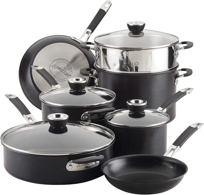 Anolon Smart Stack Hard Anodized Nonstick Cookware Set