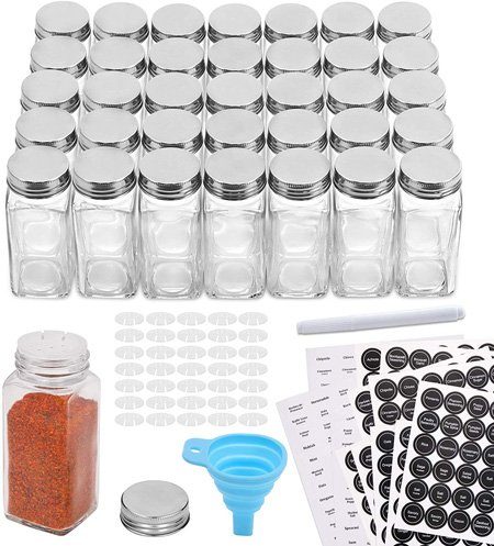Aozita 36 Pcs Glass Spice Jars