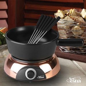 Artesia Electric Ceramic Fondue Set with 6 Fondue Forks