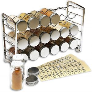 Decobros Spice Rack Stand Holder With 18 Bottles