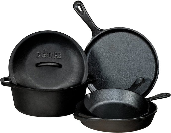 Lodge 5 Piece Cast Iron Cookware Set