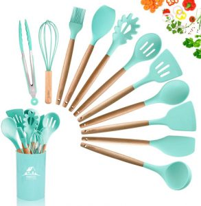 MIBOTE 12PCS Silicone Headed Cooking Kitchen Utensils Set