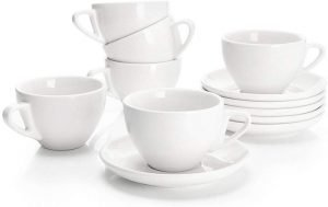Sweese 403.001 Porcelain Cappuccino Cups with Saucers