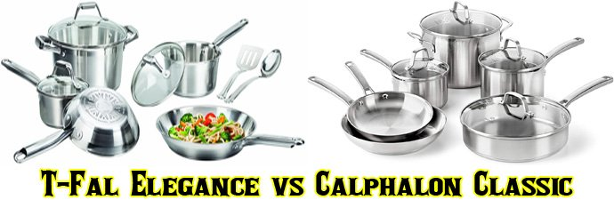 T-Fal Elegance Stainless Steel vs Calphalon Classic Stainless Steel Cookware Set