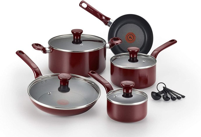T-fal C514SE Excite Nonstick Thermo-Spot Dishwasher Safe Oven Safe PFOA Free Cookware Set