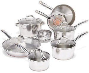 T-fal Stainless Steel Cookware Set (C836SD) - Best Glass Top Stove Cookware