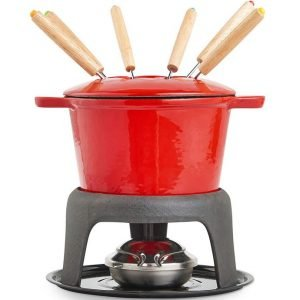VonShef Fondue Set with 6 Forks Stylish Cast Iron Porcelain Enamel Pot
