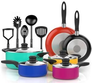 Vremi 15 Piece Nonstick Cookware Set - Best Ceramic Nonstick Cookware